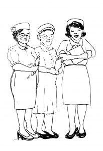 ink sketch of 3 professional women wearing nursing uniforms, 1950s style