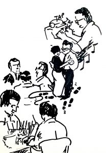ink sketches of people doing activities: typing, dancing, making baskets