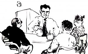 ink sketch of man behind counter and other people sitting at table
