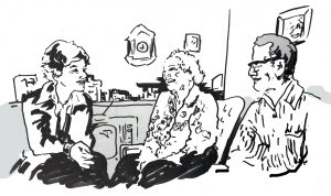 ink sketch of young woman speaking with elderly couple in home