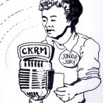 "ink sketch of 1950s boy speaking into radio microphone, wearing ""Junior Jury"" pin on sweater"