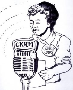 "ink sketch of 1950s boy speaking into radio microphone, wearing ""Junior Jury"" pin on sweater"