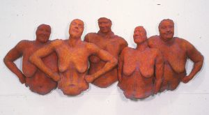 photo of group of smiling naked female sculptures standing united, proud and happy