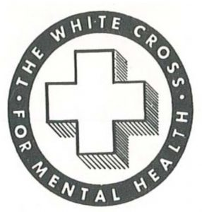 """logo with white cross in middle and words """"The White Cross: For Mental Health"""""""