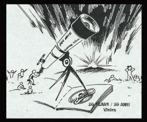 """black and white graphic of telescope and the night sky above, """"The publication with the vision"""""""