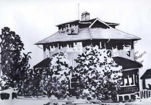 older 3-story wooden residential house, 3 stories with trees in front