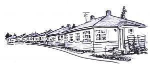 older 1-story row houses along roadside