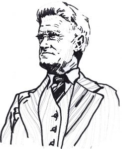 stern looking man in old fashioned suite and tie