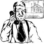 older man on telephone, 1940s style clothing, architectural drawin behind