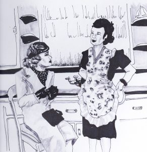 two old fashioned women talking in a kitchen, one wearing a hat and coat and the other an apron