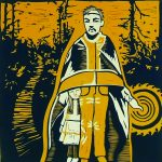 Print of an Aboriginal man standing in the middle with his cloak covering the top of a little girls head who is standing under the cloak by his leg. There are circles eminating from an object in the man's hand.