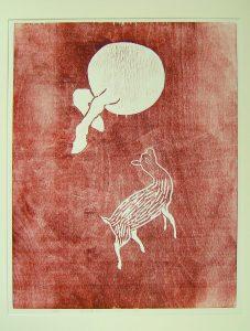 print of small animal looking upward