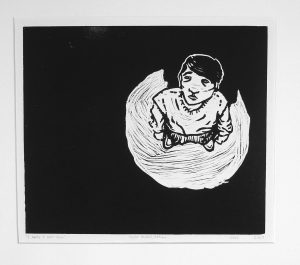 An almost entirely black print with a small figure standing on the right surrounded by a white semicircle. The figure is looking up at the viewer with a slightly sad expression.