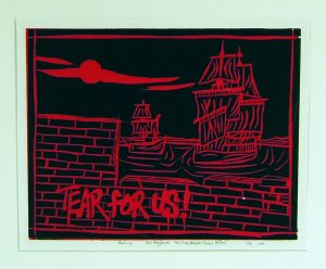 """black and red print of brick wall and 2 old sailing ships, """"Tear for us!"""" written out"""