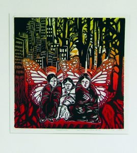 multi-coloured print with city and forest in background and 3 winged figures crouched in foreground