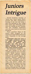 Juniors Intrigue newspaper article