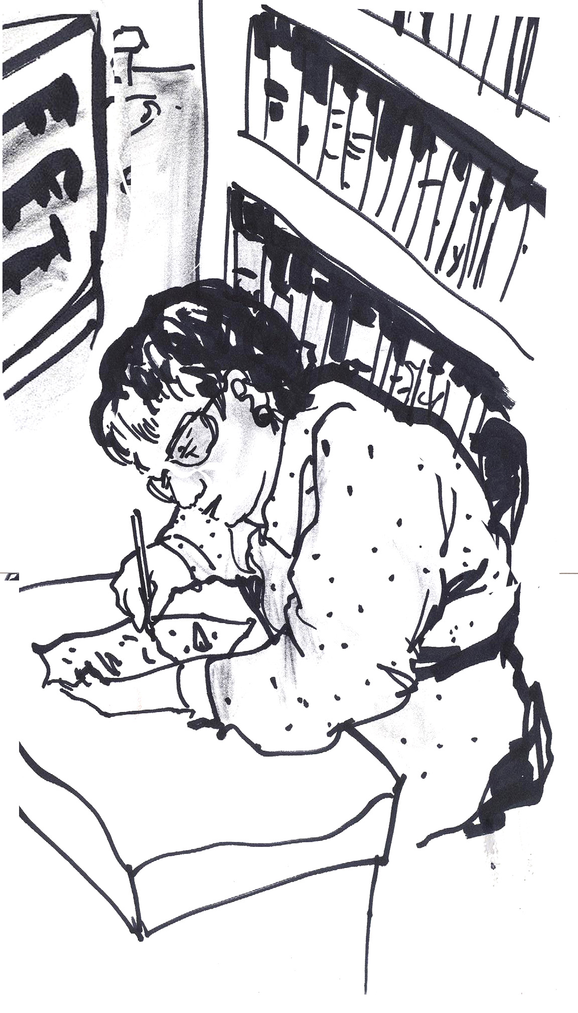 ink sketch of woman with glasses seated writing at desk in library