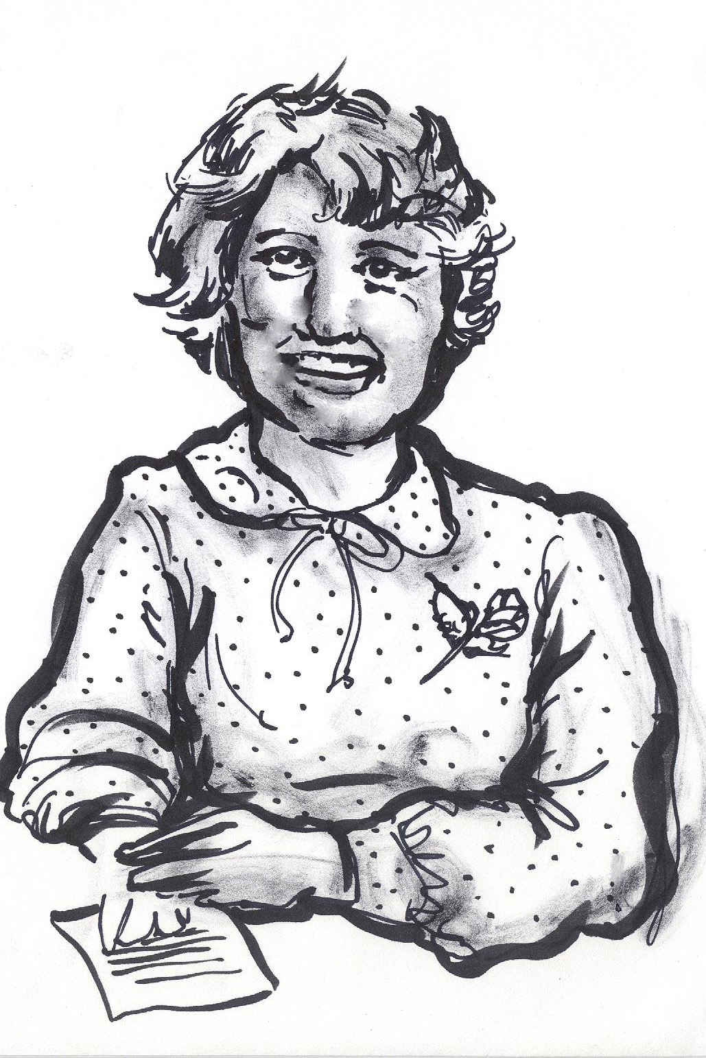 ink sketch of smiling woman with pen and paper