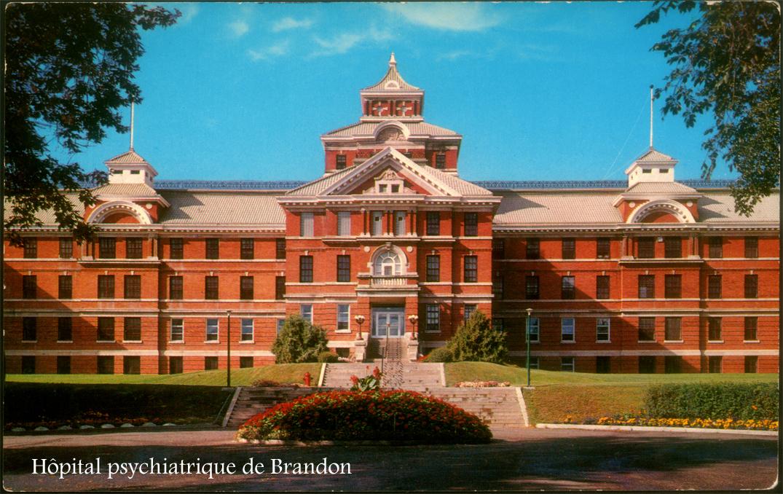 Représentation en couleurs d'un imposant édifice de brique de plusieurs étages avec un joli jardin devant