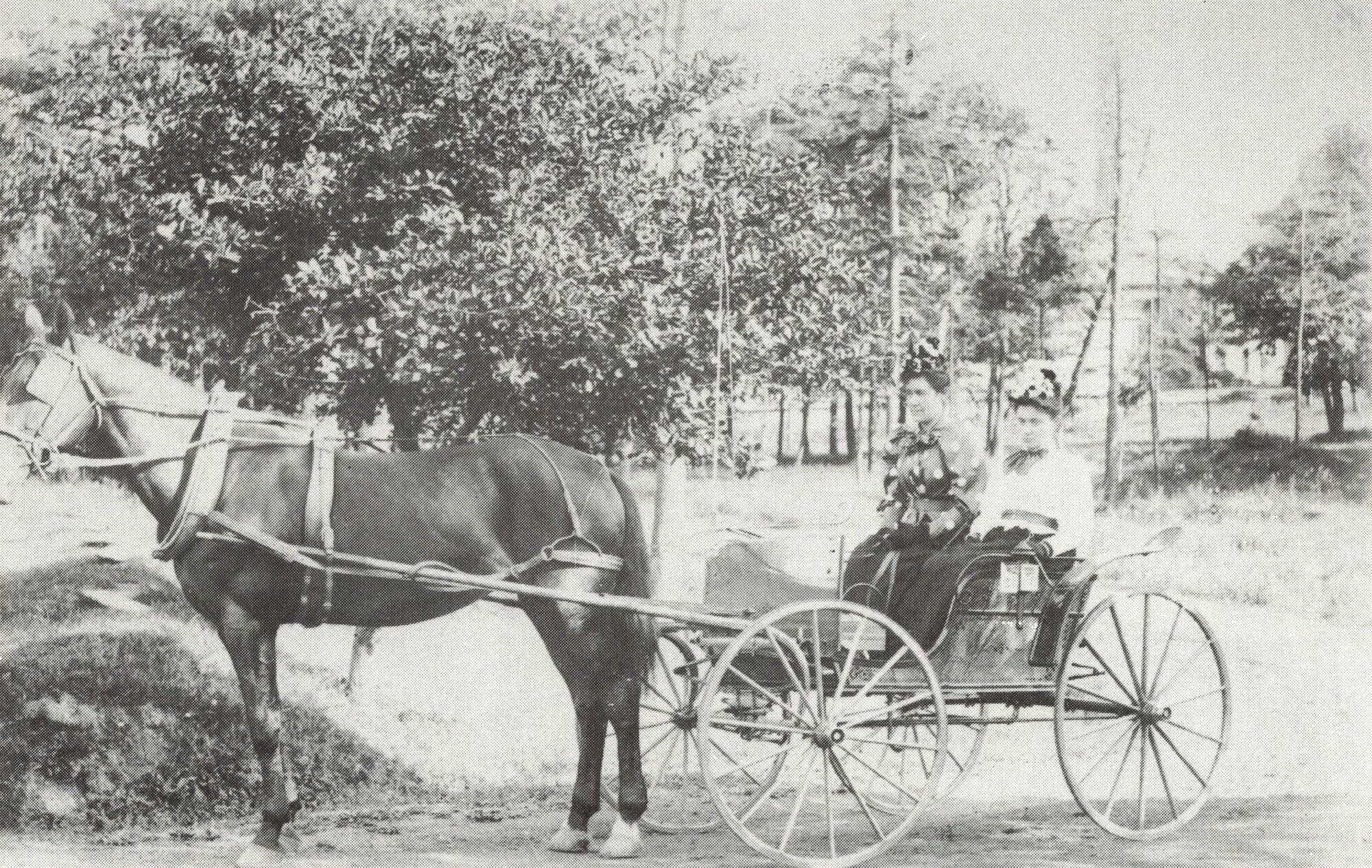 Ancienne photo en noir et blanc de deux femmes assises dans une calèche tirée par un cheval
