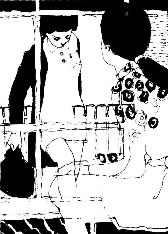 Ink sketch 1970s style of woman sitting at window and another woman coming towards her