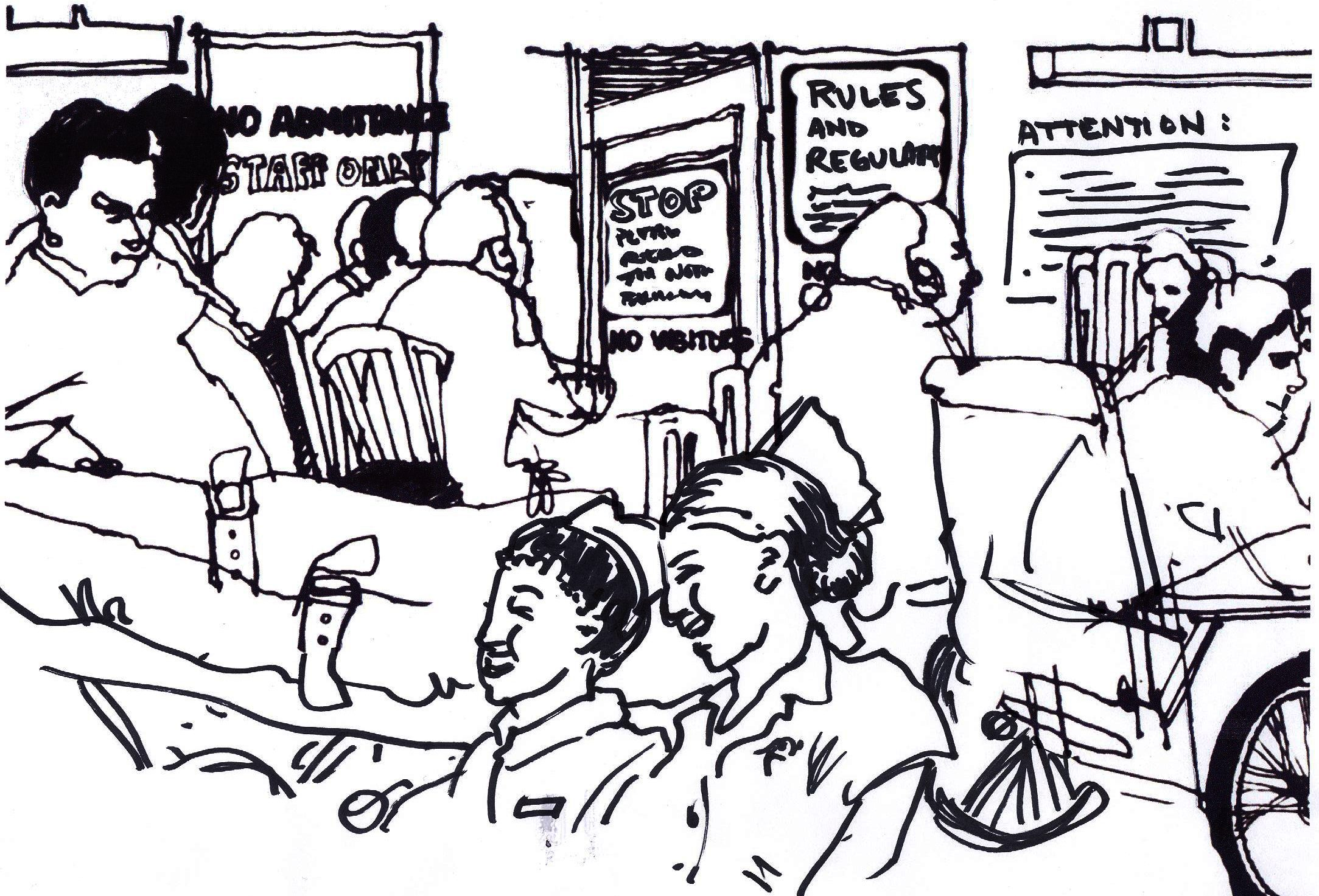 ink sketch of crowded hospital waiting room