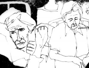 ink sketch of sad looking elderly hospital patients