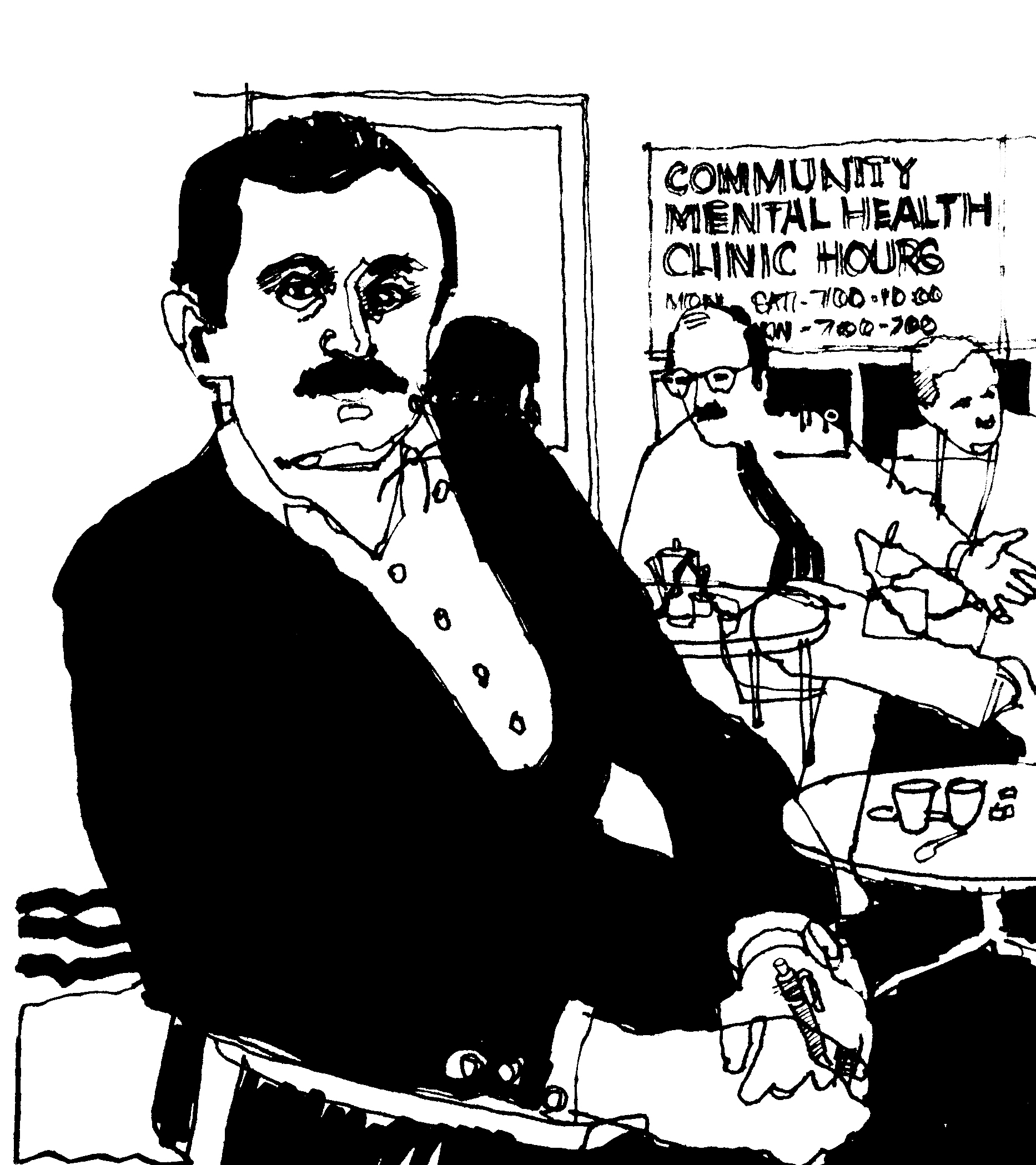 ink sketch of man in foreground and other people and sign for Community Mental Health Clinic in background, 1970s style