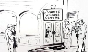"""ink sketch of building front with """"White Cross Centre"""" sign and people waiting to enter"""