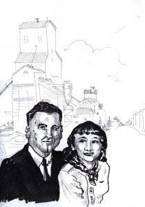 ink sketch of 1950s man and woman in front of prairie grain elevators