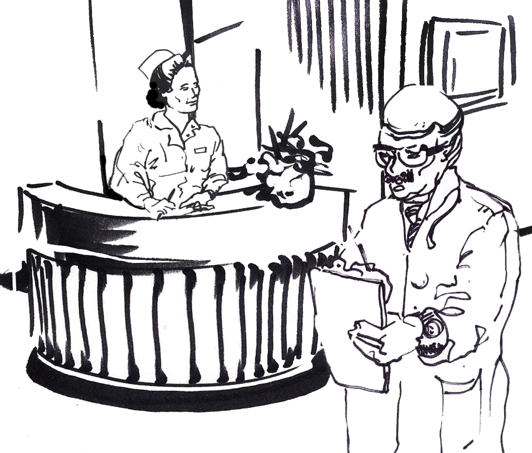ink sketch of old-style nurse receptionist and doctor with chart
