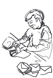 ink sketch of person putting paper in envelope
