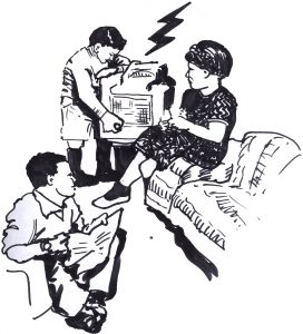 ink sketch of 1950s family with father and mother seated in living room and male child turning dial of radio