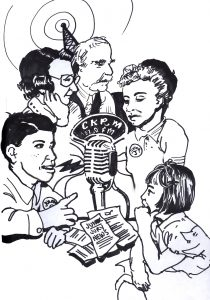 "ink sketch of 1950s people of mixed aged speaking into radio microphone, scripts labelled ""Junior Jury"" on table"