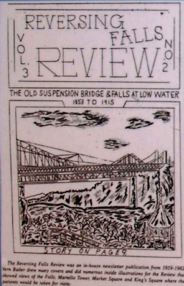"magazine cover with title ""Reversing Falls Review"" and sketch of bridge over river on cover"