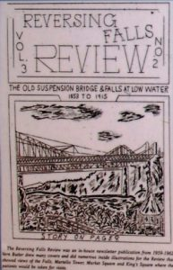 Une du magazine «Reversing Falls Review» avec un dessin d'un pont au-dessus d'une rivière