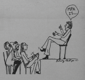 Cartoon of Man in chair addressing group of people