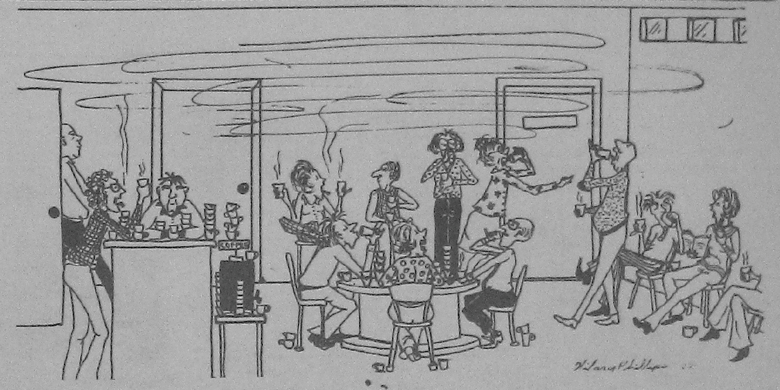 Sketch of people at a lively drop-in, socializing and drinking coffee