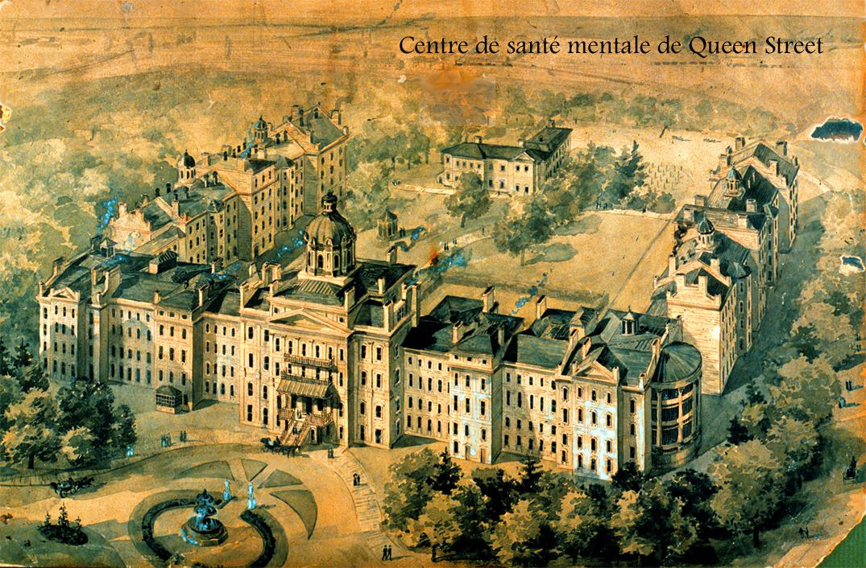 Aquarelle représentant une vue aérienne d'un imposant édifice institutionnel du 19e siècle entouré d'arbres