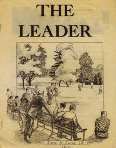 "magazine cover with the title ""The Leader"" and a sketch of people seated on a park bench watching other people playing a game"