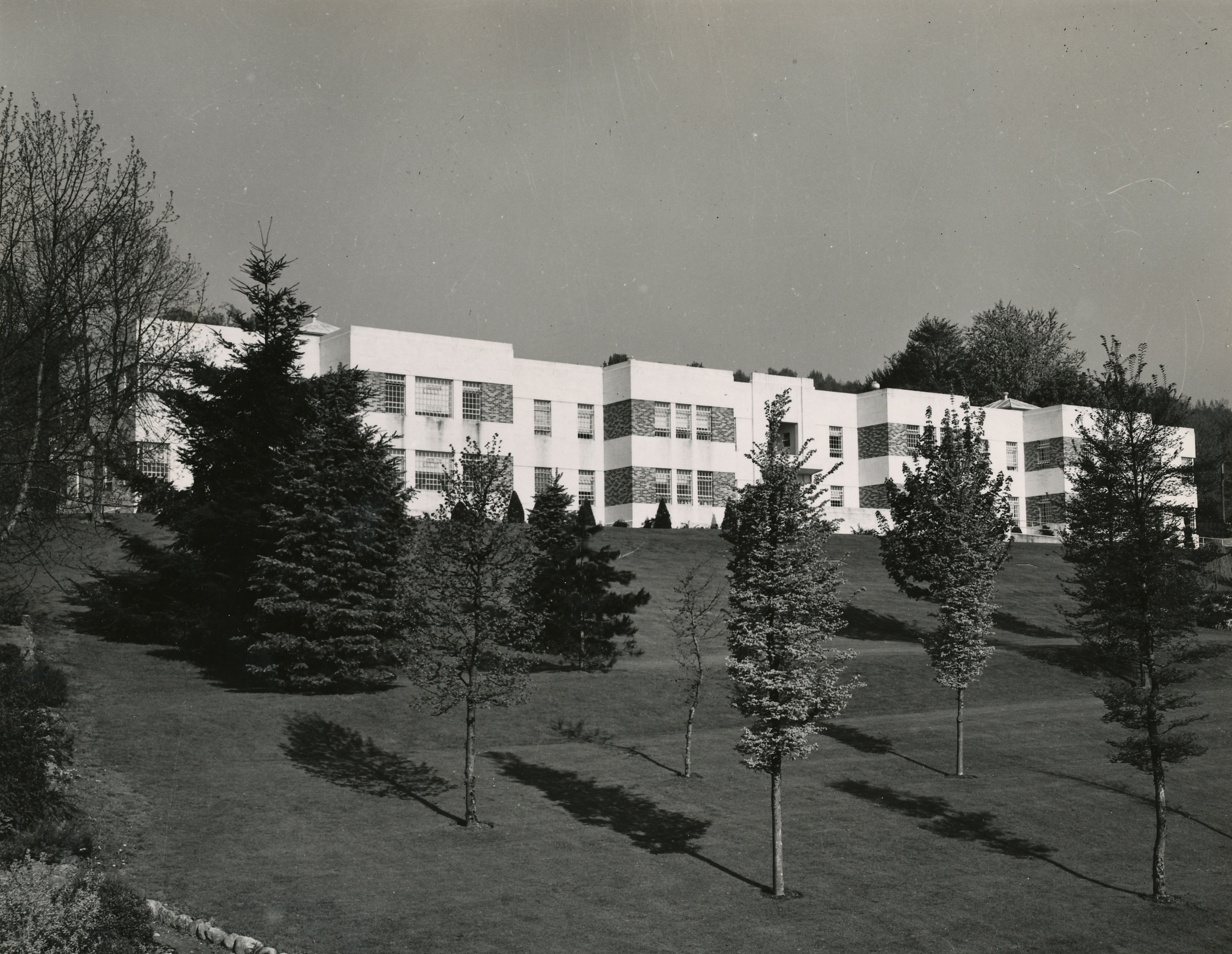 White building up a sloping lawn with small trees.