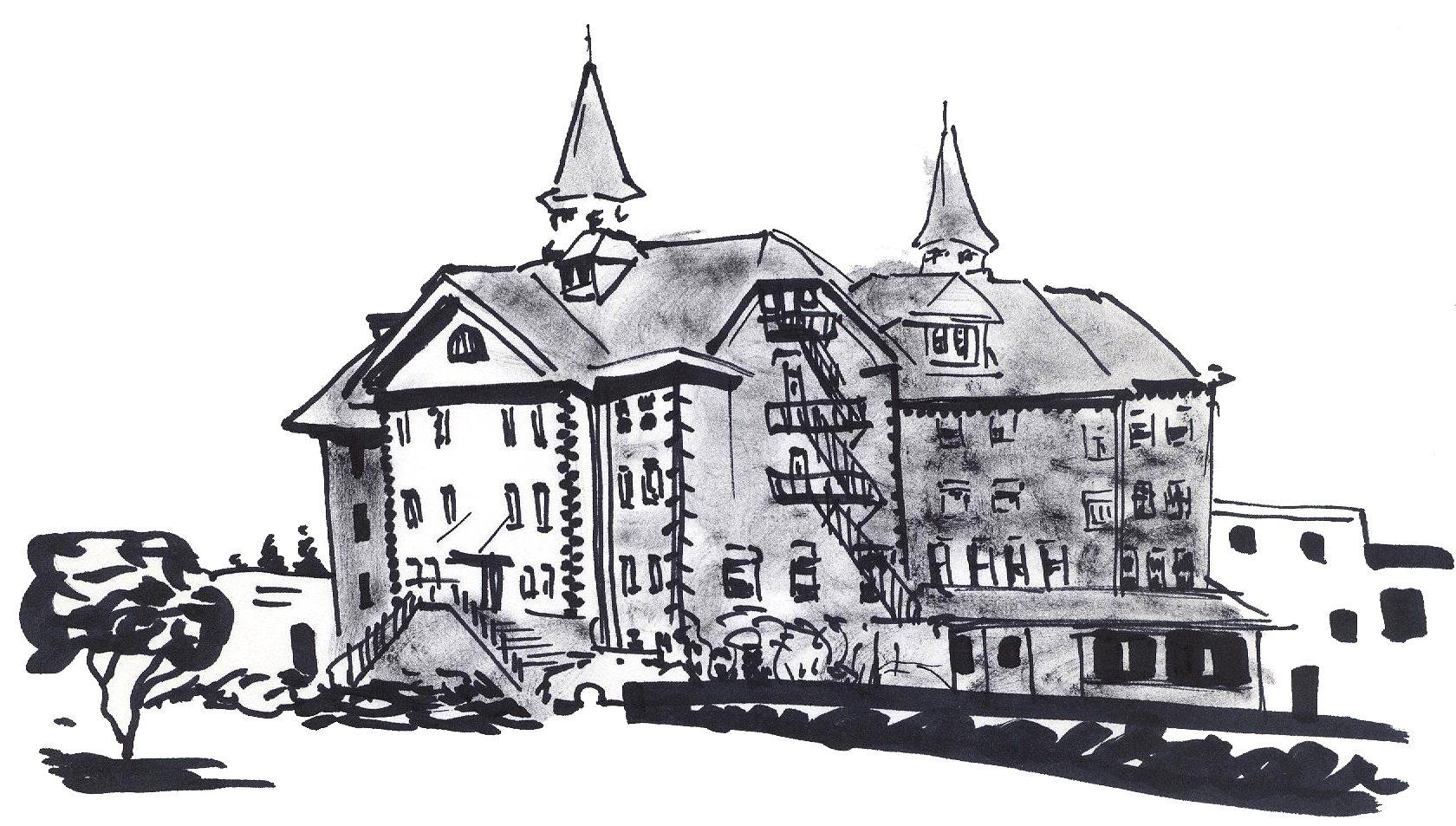 ink sketch olarge forbidding old institution