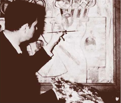 old black and white photo of man with palette painting