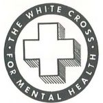 "logo with white cross in middle and words ""The White Cross: For Mental Health"""