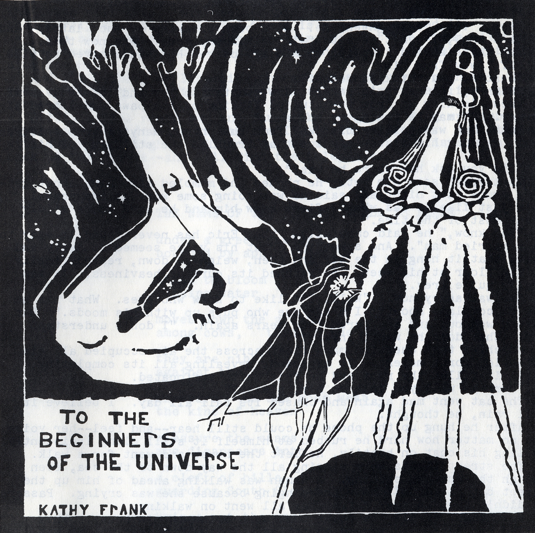 black and white graphic with swimmer on left and sea creature on right; signed by Kathy Frank and titled To the Beginners of the Universe