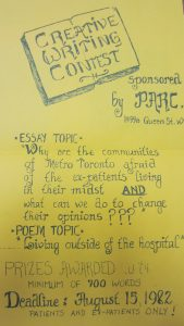 yellow poster for 1982 PARC creative writing contest asking contestants to write 700 word essays about why Torontonians are afraid of ex-patients and what members can do to change this, or a poem about community