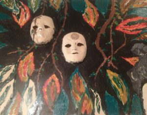 coloured photo of mixed media art piece with white masked faces and leaf motif
