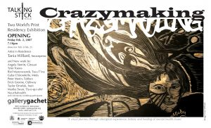 Crazymaking exhibit poster with graphic with a woman with long flowing hair