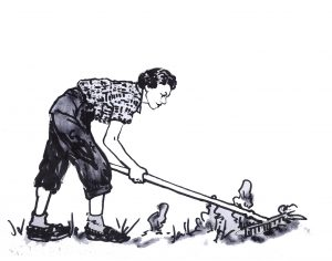 woman working in a garden with a rake, old fashioned clothes