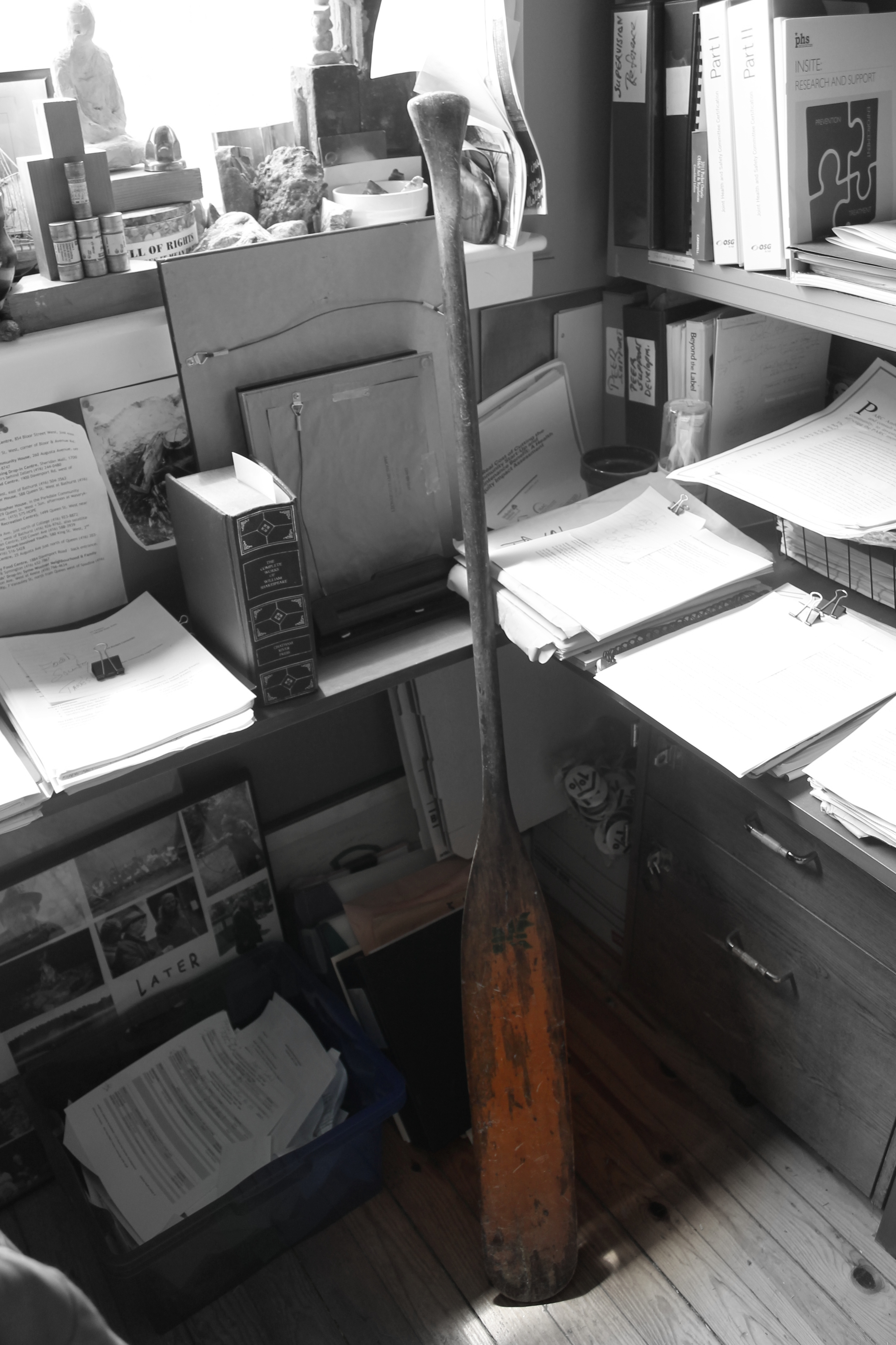 photo of canoe paddle leaning against office desk covered with paperwork